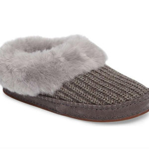 UGG WRIN SWEATER KNIT SHEARLING SLIPPERS GRAY